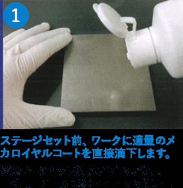 ステージセット前、ワークに適量のメカロイヤルコートを直接滴下します。※ステージセット後でも塗布できます。使用量の目安:300mm四方で約1mL