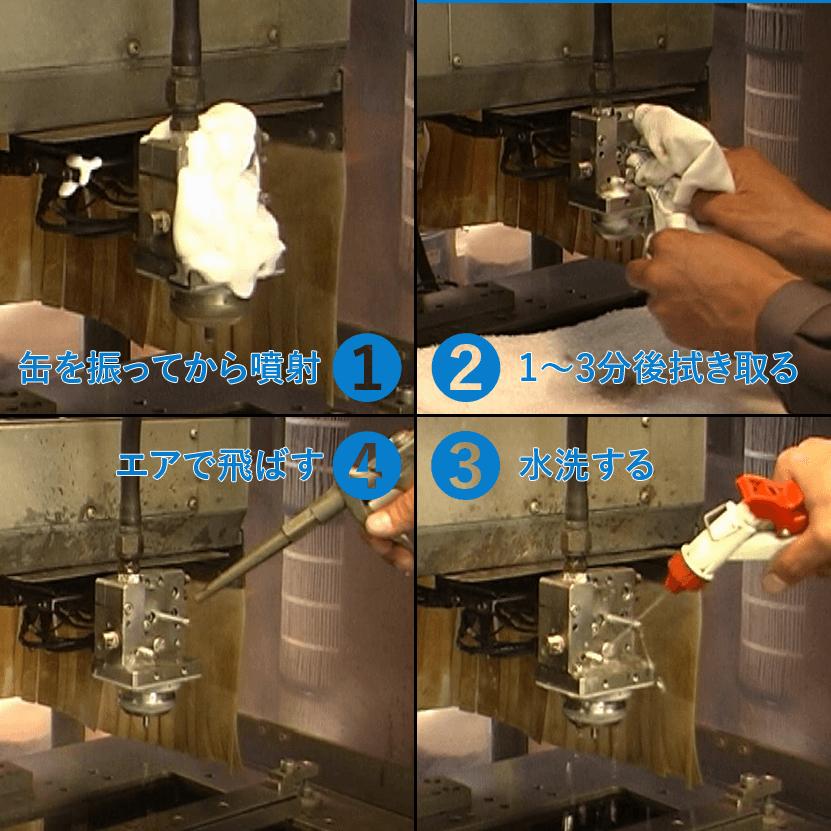 ①缶を振ってから噴射 ②1~3分後拭き取る ③水洗いする ④エアで飛ばす